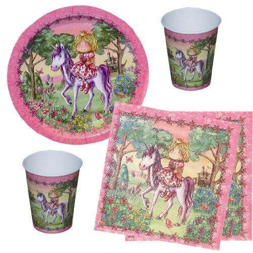 Partyset Prinzessin, 44-tlg., Kindergeburtstag mit 12 Mädchen; 12 Papp-Teller, 12 Papp-Bechern, 20 Servietten mit rosa Pferdemotiv Prinzessin auf Einhorn