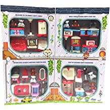 Doll house Furniture Set, Miniature Bathroom/ Kid Room/ Bedroom/ Kitchen House Furniture Dollhouse Decoration accessories with 7 Bears Family Play with Carry Case