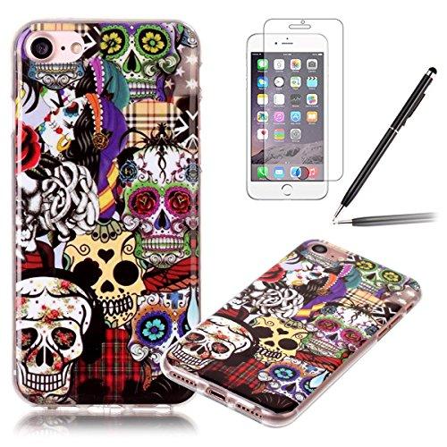 iPhone 7 Hülle,iPhone 7 Silikon Case,iPhone 7 Cover - Felfy Ultra Dünne Weicher Slim Gel Flexible Soft TPU Silikon Hülle Schutzhülle Silikon Hülle Muster Farbmalerei Beschützer Hülle Handy Durchsichti Schädel