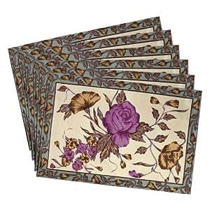 shalinindia th indien sets de table set de 6 d corations d 39 t floral coton lavable en machine. Black Bedroom Furniture Sets. Home Design Ideas