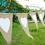 12 Flags Love Heart Rustic Jute Bunting Garland Banner Burlap Vintage Hessian Pennant for Party Christmas Birthday Wedding Bridal Shower Favor Decoration (2.8m/9 feet)