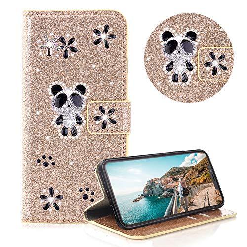 Glitzer Strass Brieftasche für iPhone 11,Gold Leder Handyhülle für iPhone 11,Moiky Luxus 3D Magnetisch Kristall Niedlich Panda Blumen Diamant Hülle mit Kartenfächer Ständer