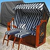 XINRO® XXL Ostsee Strandkorb blau - schwarz gestreift kaufen # inkl. Schutzhülle # 2 Bezüge (Grundbezug + wechselbarer Bezug)