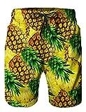 Loveternal Badeshorts Herren 3D Printed Ananas Beach Shorts Sommer Boardshorts mit Seitentaschen Gelb L