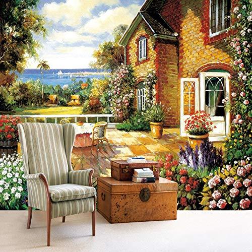 WAHAZC 3D Fresko Tapete Hintergrundbild Wandbild Silk Garden Benutzerdefinierte Ölgemälde Effekt Wohnzimmer Sofa Tv Hintergrund Dekoration Fototapete, L295 * W210Cm -