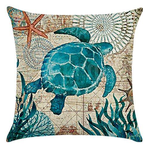 aumwolle Fisch Kissen Tasche Kissen Cover Home Sofa Dekor (Schildkröten) ()