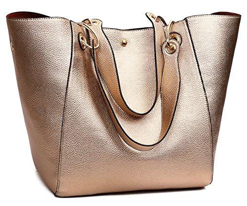 Tibes Faux Leder Handtasche für College Girls Rose Gold