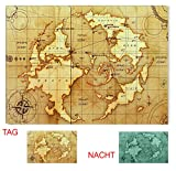 Startonight Leinwand Wand Kunst Alte Weltkarte, Doppelansicht Überraschung Modernes Dekor Kunstwerk Gerahmte Wand Kunst 100% Ursprüngliche Fertig zum Aufhängen 80 x 120 CM