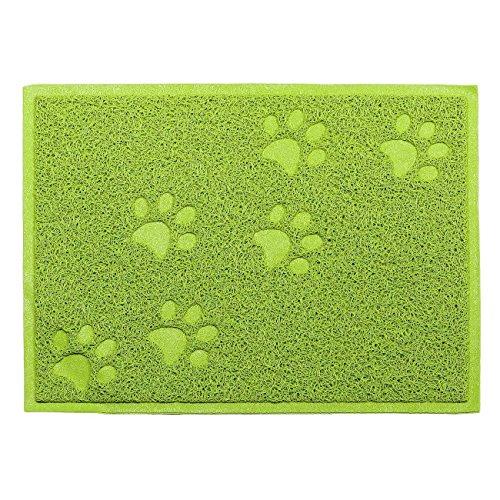 Katzenstreu Kasten Matte, SUAVER Wasserdicht PVC Katzenstreu Futtermatten Nahrungsmittelschüssel Matten,30 x 40 cm (Grün)