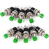 Lot de 10 Mini Interrupteur à Bouton-poussoir Momentané Vert