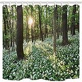 cdhbh Spring Landschaft Bad Vorhang Wild Knoblauch Blumen im Wald bei Sonnenuntergang Polyester Stoff wasserdicht Duschvorhang für Badezimmer 180,3x 180,3cm Vorhänge Dusche Haken im Lieferumfang enthalten