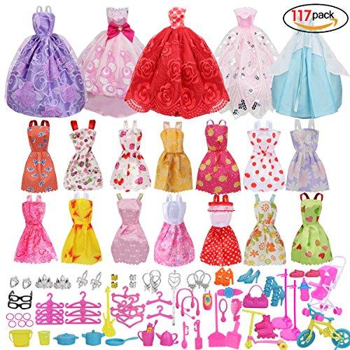 19 STÜCKE Elegante Brautkleider mit 98 stücke Multicolor Outfit Zubehör, schuhe, Ständer Halter, Schmuck und Haushaltswaren für Geburtstagsgeschenk Puppe (Brautkleider Zubehör)