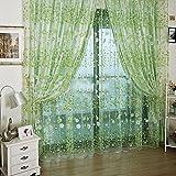 200*95cm Fenster Dekoration Kleine Blumen Floral Tüll Voile Vorhang Gardine (grün )