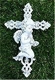 °Grabschmuck Engel auf Kreuz *Zum Hinlegen* grau-antik, ca. 21 x 14 cm