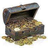 Brynnberg Schatztruhe Schatzkiste 20x11x11cm Incl Dekorationsset 100 Goldmünzen Piraten Schatzsuche Holz massiv braun Kolonialstil Schatulle Bauernkasse Holz Piratentruhe Geldtruhe