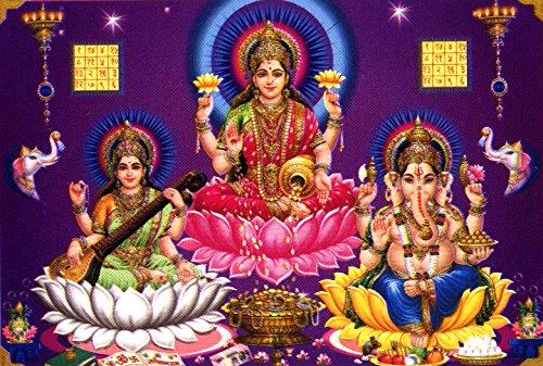 lakshmi-ganesha-saraswati-hindu-goddess-postcard-reprint-on-paper-size-5x7-inches