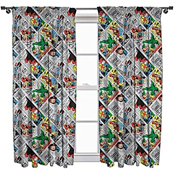 Marvel Comics U0027Retrou0027 72 Inch Drop Curtain Set