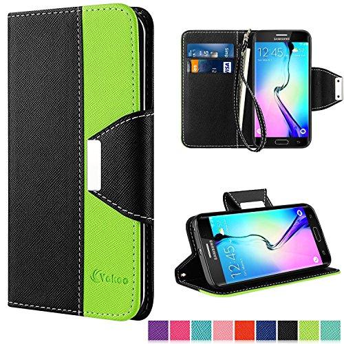 Galaxy S6 Edge Hülle,Vakoo [Flip Case] S6 Edge Bookstyle Handyhülle Premium PU-Leder Tasche Handy Etui Schutz Hülle für Samsung Galaxy S6 Edge (Schwarz Grün)
