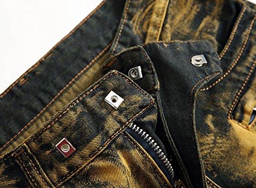 AIYINO Herren Jeanshose Biker Destroyed Look Jeans Hose Denim 6 Style Golden