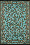 Grün Deko-Gala Indoor Outdoor/Gewicht/Reversible/Polypropylen Kunststoff Teppich, Plastik, Turquoise/Gold, 90 x 150 cm