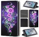 Samsung Galaxy S5 / S5 Neo Hülle von CoverHeld Premium Flipcover Schutzhülle Flip Case Motiv (1284 Abstract Blume Lila Rosa Schwarz)