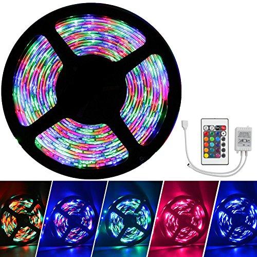 SourceWorld(TM) - Tira con luces LED a Prueba de Agua 5M 3528 RGB SMD Cambian de Color Kit Completo con 24 Teclas Control Remoto IR - 3528 - 5M + Remoto