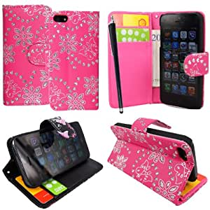 For Apple Iphone 5 5s Butterfly Pink Diamond Book Type PU Leather Magnetic Flip Case Cover + Stylus + Guard