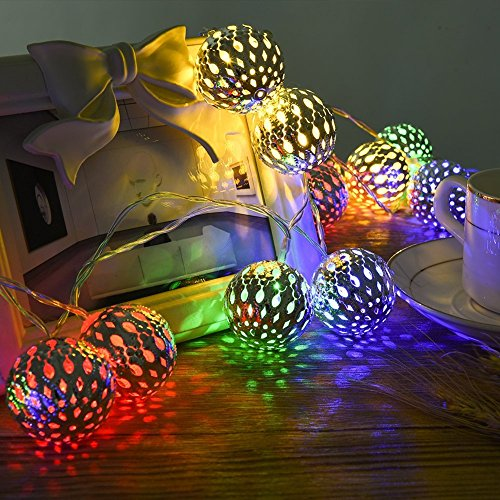 LEDGLE Globe Lichterkette Silber Marokkanische Lichterkette mit Fernbedienung, 4 Farben, 8 Beleuchtungsmodi, Batteriebetrieben, IP65 wasserdicht