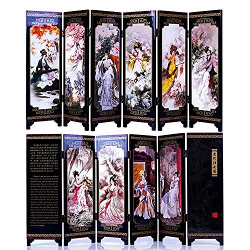 Orientalische Holz-bildschirm (iFireFly Paravent/Raumteiler/Trennwand mit 6 Elementen, lackiert, klein)