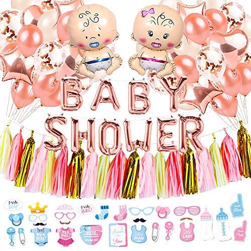 Decoración para Baby Shower Premium - (para niños o niñas) Juego de decoración para Baby Shower Que Incluye Pancarta de Baby Shower, apoyabrazos de fotomatón de Baby Shower y Globo de