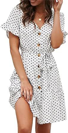 Yidarton Women's Summer Casual Chiffon Button Short Sleeve Tie Waist Polka Dot Solid Color Beach Mini Shirt Dress