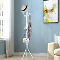 Lukzer 6 Hook Wrought Iron Coat Hanger Clothes Hanging Rack Stand/Standing Shelves for Bedroom Storage Organizer (White)