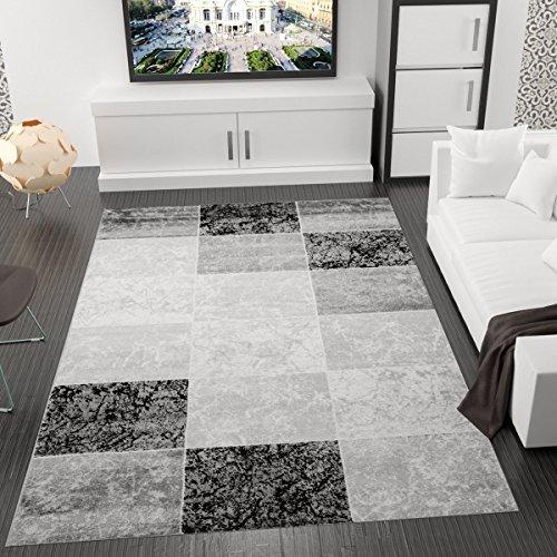 VIMODA-singapur6704-Designer-Teppich-Modern-Kariert-Marmor-Muster-Meliert-kotex-Zertifiziert-grau-schwarz-wei