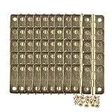 50 bisagras para caja, cajón o armario de tamaño mini para joyería, chapadas en latón, 23 mm x 19 mm, 200 tornillos de repuesto
