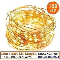 Luces de hadas 100 LED de Navidad interior micro luces de hadas LED luces de cadena 10 metros/33 plata cable-funciona con pilas