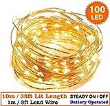 Luci stringa 100 LED Micro Interno Natale LED Luci leggiadramente Luci di stringa 10 metri/33 ft Cavo d'argento- Batteria, Ideale per addobbi natalizi