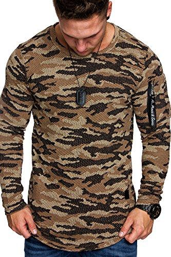 Amaci&Sons Camouflage Oversize Vintage Herren Cargo-Style Pullover Hoodie Sweatshirt Crew-Neck 6019 Camouflage Beige M
