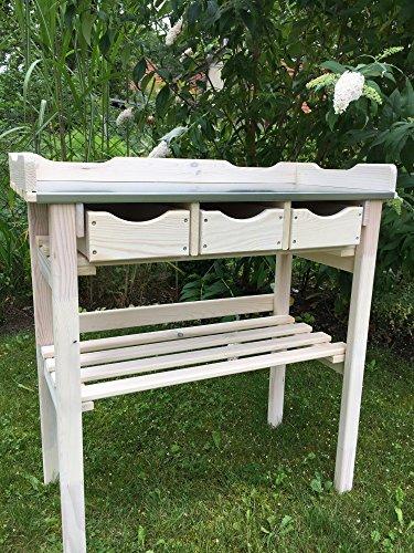 GartenDepot24 Pflanztisch mit 3 Schubladen aus Holz, Zinkplatte, weiß durchscheinend lasiert B78 x T38 x H82 cm