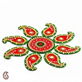 Red and Green Handmade Wood Clay Floral Floor Art { Rangoli }