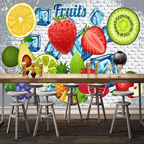 MuralXW 3D Fototapete 3D Backsteinmauer Zitrone Erdbeere Obst Shop Restaurant Milch Tee Shop Hintergrund Wanddekor Wandbild Modern-400x280cm - Zitronen-kräuter-tee