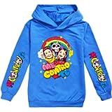 C&NN Personaggi Toddler Bambini Ragazzi Cartoon con Cappuccio Pullover Felpa Tops,Blu,110cm