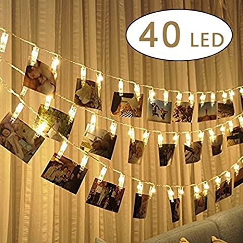 King minimum LED Clip Photo Guirlande lumineuse – 40 clips Photo 5 m LED à piles Tableau lumières pour décoration Photo à Suspendre, des notes, des illustrations