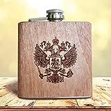 Holz Flachmann Russland | Wappen Fahne Logo Adler Russia Alkohol Taschenflasche