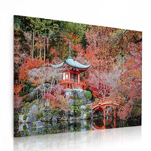 Feeby Frames, Cuadro en Lienzo - 5 Partes - Cuadro impresión, Cuadro decoración, Canvas (JARDÍN JAPONÉS, Rojo) 100x150 cm, Tipo C