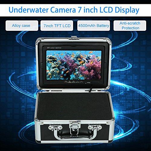 OWSOO LCD-Video-Monitor 7 ''Fish Finder Unterwasserkamera Portable Legierung Fall mit Antisonnenschein Schild Sonnenblende für Eis/Meer/Fluss Angeln (Kamera nicht im Lieferumfang enthalten) (Meer-sd-karte)