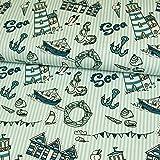 Baumwolljersey Maritimmuster Streifen hellblau Anker
