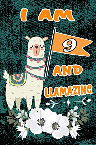 : Happy 9 Birthday Gift Notebook: Funny Green Vintage Llama Lined Journal ()