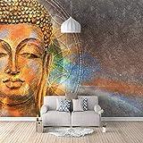 Photo 3D Papier Peint Mural Bouddha Tête Autocollants Toile Autocollante pour Chambre Salon Tv Fond Décoration Murale Peintures Murales 300cm(W) x210cm(H)