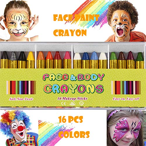 ENJSD 16 PCS Face Paint Crayons Kit, Bright Colors Face Paint Kit Set for Kids, Safe & Non-toxic Face Body Crayons, Perfect for Halloween Makeup, Party or Pretend Play(16 PCS)