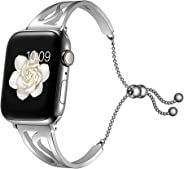 Fintia Stainless Steel Jewelry Watch Strap Replacement Band Wristbands Compatible for Apple Watch iWatch Series 5/4/3/2/1 Sm